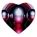 Red 3d  Computer Work Heart Ornament (2 Sides) Front