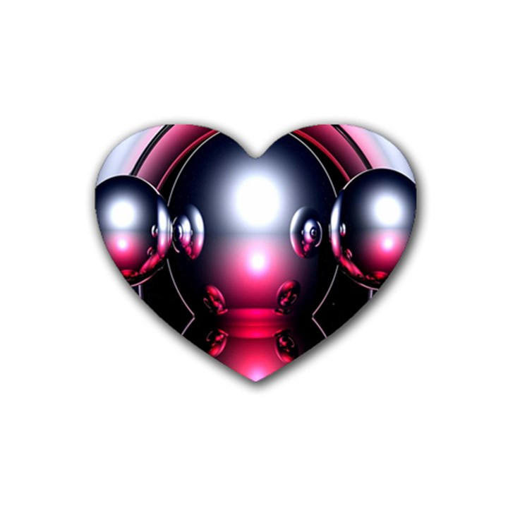 Red 3d  Computer Work Rubber Coaster (Heart)