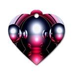 Red 3d  Computer Work Dog Tag Heart (Two Sides) Front