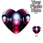 Red 3d  Computer Work Multi-purpose Cards (Heart)  Back 9