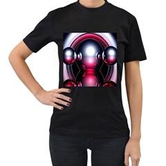 Red 3d  Computer Work Women s T-Shirt (Black)