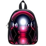 Red 3d  Computer Work School Bags (Small)  Front