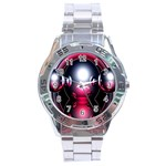 Red 3d  Computer Work Stainless Steel Analogue Watch Front