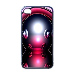 Red 3d  Computer Work Apple iPhone 4 Case (Black)
