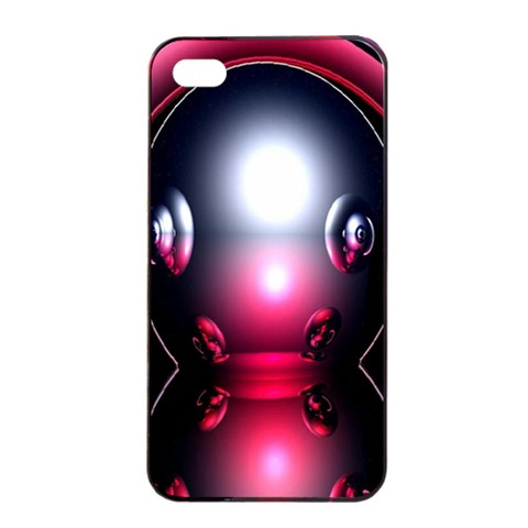 Red 3d  Computer Work Apple iPhone 4/4s Seamless Case (Black)