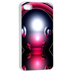 Red 3d  Computer Work Apple iPhone 4/4s Seamless Case (White)