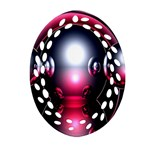 Red 3d  Computer Work Oval Filigree Ornament (2-Side)  Front