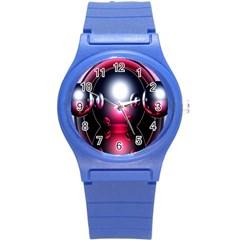 Red 3d  Computer Work Round Plastic Sport Watch (S)
