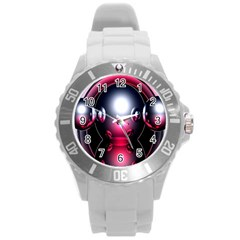 Red 3d  Computer Work Round Plastic Sport Watch (L)