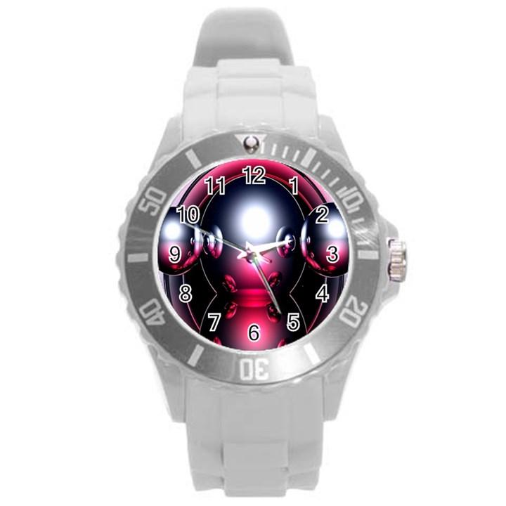 Red 3d  Computer Work Round Plastic Sport Watch (L)