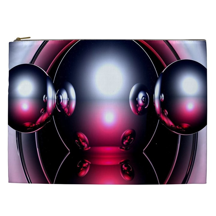 Red 3d  Computer Work Cosmetic Bag (XXL)