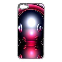 Red 3d  Computer Work Apple iPhone 5 Case (Silver)