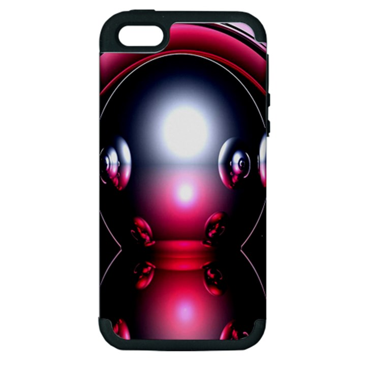Red 3d  Computer Work Apple iPhone 5 Hardshell Case (PC+Silicone)