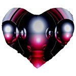 Red 3d  Computer Work Large 19  Premium Heart Shape Cushions Back