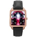 Red 3d  Computer Work Rose Gold Leather Watch  Front