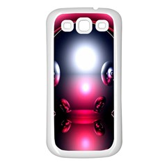 Red 3d  Computer Work Samsung Galaxy S3 Back Case (White)