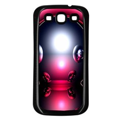 Red 3d  Computer Work Samsung Galaxy S3 Back Case (Black)