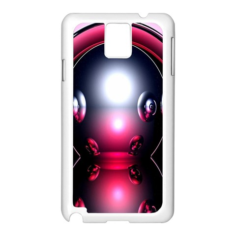 Red 3d  Computer Work Samsung Galaxy Note 3 N9005 Case (White)
