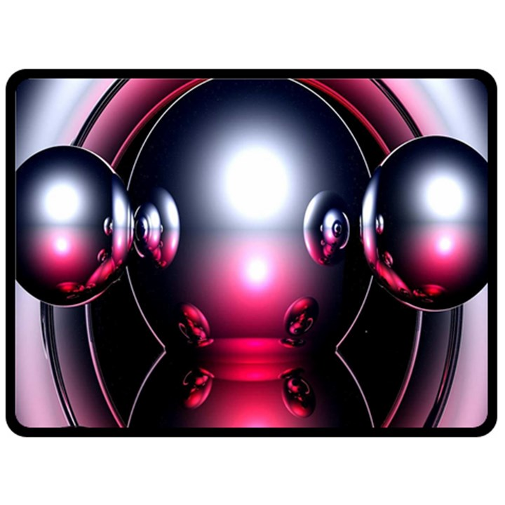 Red 3d  Computer Work Double Sided Fleece Blanket (Large)