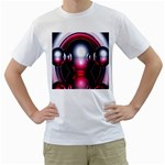 Red 3d  Computer Work Men s T-Shirt (White)  Front