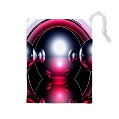 Red 3d  Computer Work Drawstring Pouches (Large)