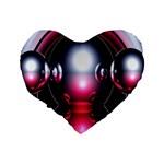 Red 3d  Computer Work Standard 16  Premium Flano Heart Shape Cushions Back