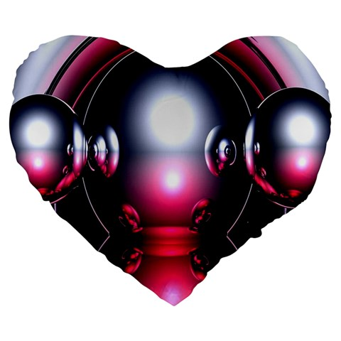 Red 3d  Computer Work Large 19  Premium Flano Heart Shape Cushions