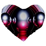 Red 3d  Computer Work Large 19  Premium Flano Heart Shape Cushions Front