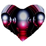 Red 3d  Computer Work Large 19  Premium Flano Heart Shape Cushions Back