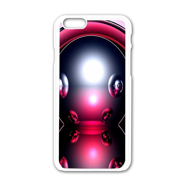 Red 3d  Computer Work Apple iPhone 6/6S White Enamel Case