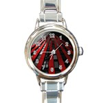 Red Building City Round Italian Charm Watch Front