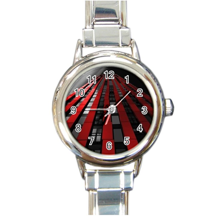 Red Building City Round Italian Charm Watch