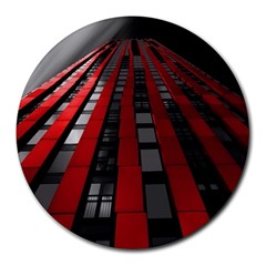 Red Building City Round Mousepads