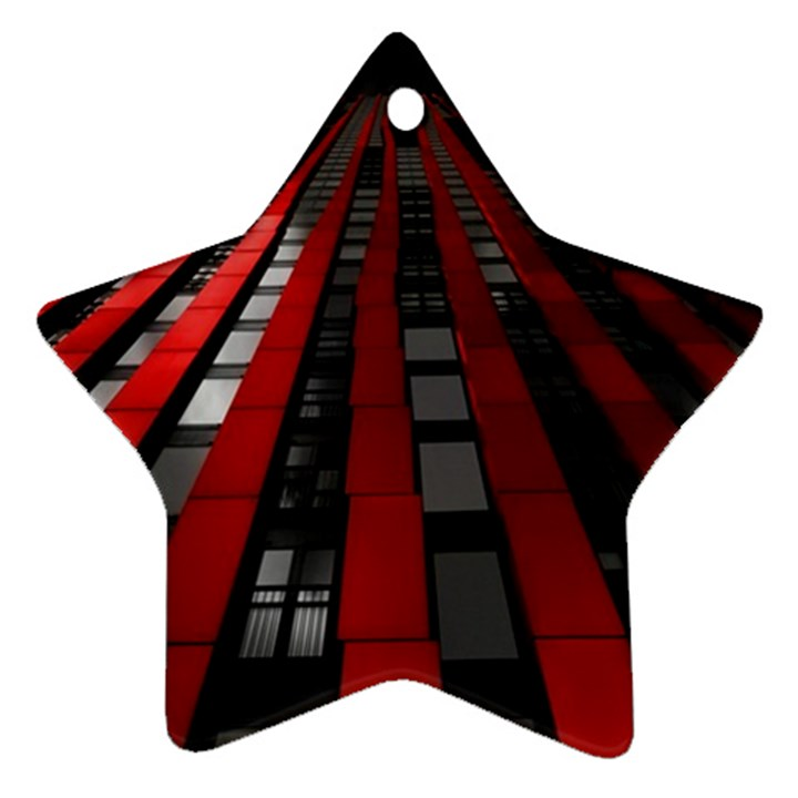 Red Building City Ornament (Star)