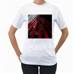 Red Building City Women s T-Shirt (White) (Two Sided) Front