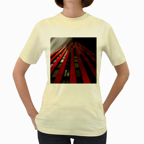 Red Building City Women s Yellow T-Shirt