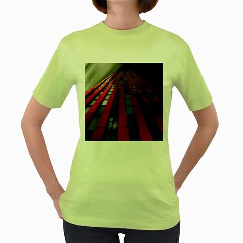 Red Building City Women s Green T-Shirt