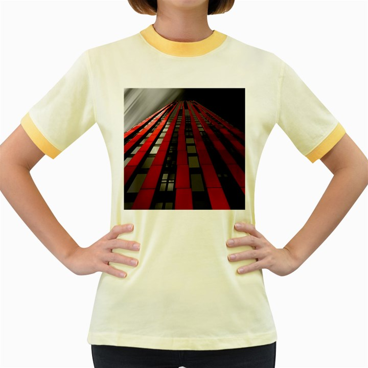 Red Building City Women s Fitted Ringer T-Shirts