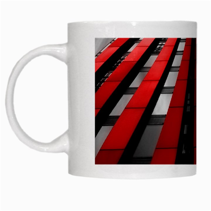 Red Building City White Mugs
