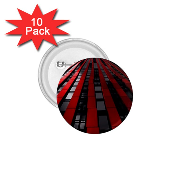 Red Building City 1.75  Buttons (10 pack)