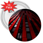 Red Building City 3  Buttons (10 pack)  Front