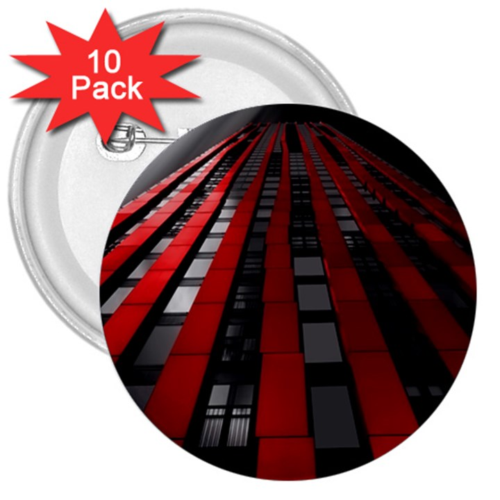 Red Building City 3  Buttons (10 pack)