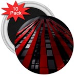 Red Building City 3  Magnets (10 pack)  Front