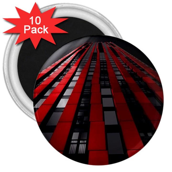 Red Building City 3  Magnets (10 pack)