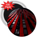 Red Building City 3  Magnets (100 pack) Front