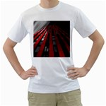 Red Building City Men s T-Shirt (White) (Two Sided) Front