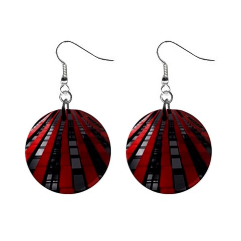Red Building City Mini Button Earrings