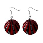 Red Building City Mini Button Earrings Front