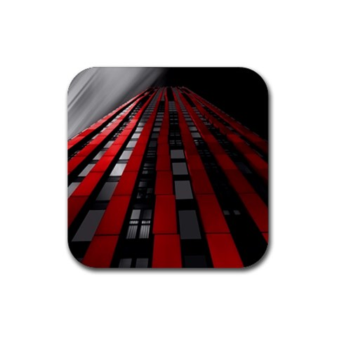 Red Building City Rubber Coaster (Square)