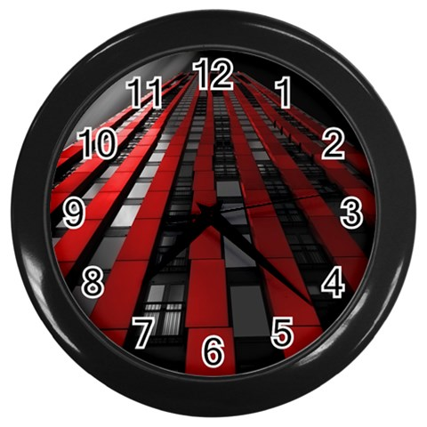 Red Building City Wall Clocks (Black)